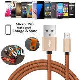 Шнур заряжателя кабеля данным по USB кожаный Micro прочный поручая Android для Samsung