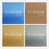 chapa de aço inoxidável de produto 201 304 316 de aço com o cetim colorido para a decoração