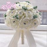 Branco do cetim/ramalhete nupcial do casamento flor de Champagne Rosa com pedras (Dream-100087)