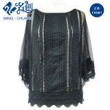 Black Perspective Strips-Lace Knitted Collarless MID-Sleeve Sexy Fashion Blouse
