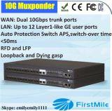 12 Ge Muxponder с 2 хоботом 10g SFP+