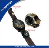 懐中電燈のコンパス機能のクロノグラフのスポーツの腕時計