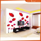 Peinture à l'huile à la maison de décoration avec le modèle rouge de configuration de fleurs