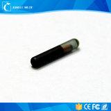 Mircrochipのペットのための134.2kHz Fdx-B RFIDの動物のガラス札