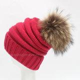 Moda feminina Pompom Fur Knitted Beanie