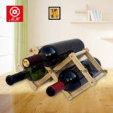 Sostenedor de botellas con el estante de madera plegable del vino para el sótano del lagar