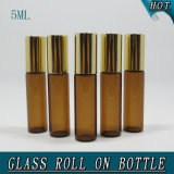 5ml 밝은 밤색 실린더 장식용 기름 유리병 롤러 공
