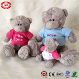 테디 심혼 사랑 회색 곰 착용 t-셔츠 질 장난감
