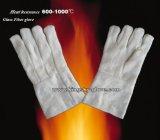 Hitzebeständiger Glasfaser-Sicherheits-Handschuh mit gestrickter Gewebe-Zwischenlage u. langer Hülse