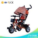 赤ん坊の三輪車は押し棒が付いている三輪車の幼児の三輪車をからかう