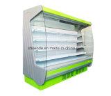 Vetrina del frigorifero del supermercato del vetro del lato dell'arco
