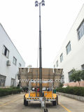 Torre ligera barata del mástil del acoplado portable telescópico neumático recargable 12V de la construcción IP65, torre ligera solar móvil del LED