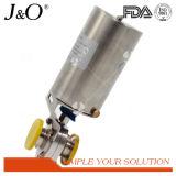 C-Parte superior pneumática sanitária válvula de borboleta Tri-Apertada