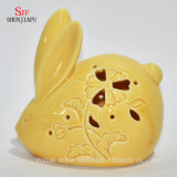 Presentes amarelos pequenos do Natal do coelho & jogo cerâmico do suporte de vela de Tealight da decoração