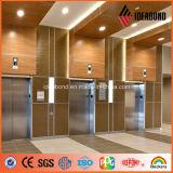 Panneau en aluminium de composé de décoration de texture en bois de polyester