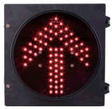 Pouce rouge-clair 200mm du signal 8 de flèche de circulation de sens