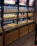 Étalage en verre d'étalage de pain en bois solide de qualité