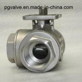 Шариковый клапан трехходовой резьбы Pn16 плавая с высокой установкой ISO5211