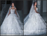 Real Photo Robes de mariée Robe de mariée en dentelle Tulle Tiered Puffy G1729