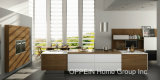 Do projeto moderno do Todo-Console de Oppein gabinetes de cozinha de madeira do PVC (OP16-PVC02)