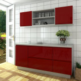 Gabinetes de cozinha de madeira pequenos populares modernos da laca do baixo preço de Oppein (OP15-CX01)