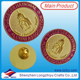 Pin de la divisa del metal del oro con el esmalte del color del edificio que graba