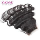 Fechamento baixo de seda brasileiro do cabelo humano da onda do corpo