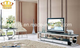 2016 Nouvelle Salle à manger Meubles en verre trempé table avec des chaises en tissu