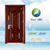 Porte en acier de garantie de la Chine de porte d'entrée de porte de porte en acier simple en métal (FD-910)