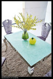 2016 Eettafel Set Moderne stijl Stailess Steel Eettafel met marmeren blad