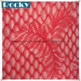 Merletto rosso del tessuto del jacquard per la cerimonia nuziale nuziale con il prezzo poco costoso