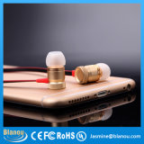In het groot Mobile Phone Handsfree MP3 Stereo Metal Silver Gold Earphone met Microphone voor iPhone (BE318)