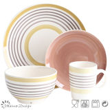 Conjunto de cena de cerámica pintado a mano del círculo de color