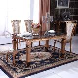 Der meiste populäre aufgetragene Rosen-goldene Stahlspeisetisch mit Stühlen