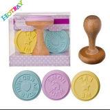 Штемпель печенья силикона рождества круглый форменный с деревянной или пластичной ручкой