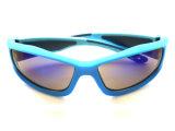 Lunettes de soleil extérieures fraîches de bâti bleu-clair pur avec la lentille reflétée