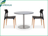 Table de café à usage professionnel en mélamine de couleur blanche