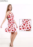 Summer New Women Sexy Halter Print Dress Long European and American V - Neck Sleeveless Dress