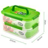 2 couches en plastique transparent scellé Ralimateur Rangement de nourriture Rangement Rangement à l'humidité avec poignée