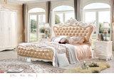 Conjuntos de quarto de cama de couro branco luxuoso de estilo real de luxo com móveis de madeira sólida branca (6011)