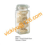 frascos de vidro quadrados do alimento 1450ml com tampa de vidro