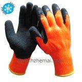 La moitié a plongé le gant orange haut visible thermique de travail de l'hiver de gants de latex