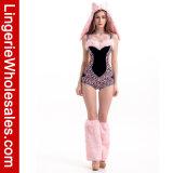 Kostuum van het Kruippakje van de Luipaard van vrouwen het Sexy Ééndelige Roze met de Versiering van het Bont Faux