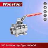3PC Stainless Steel Ball Valve Light Type Full Port 1000wog