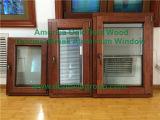 Guichet d'inclinaison et de spire de double vitrage avec le matériel importé, guichet solide plaqué en aluminium de tissu pour rideaux en bois de chêne avec des abat-jour à l'intérieur
