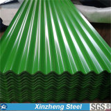 Hoja de acero acanalada de Galvanied/del Galvalume/hoja del material para techos del hierro