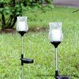 Lumière solaire en verre de jardin de la bougie DEL de Glickering de crépitement (RS118)
