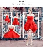 Vestidos destacáveis traseiros longos curtos dianteiros Chiffon do baile de finalistas da saia dos Sequins vermelhos quentes do querido da venda (MQ1010)