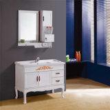 Vanidad de encargo comercial de madera moderna del cuarto de baño con el espejo