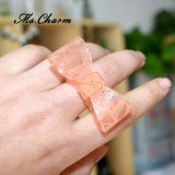 Anéis plásticos do Bowknot do laço cor-de-rosa verde para mulheres
